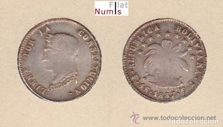 BOLIVIA - 4 SOLES - 1857FJ - POTOSI - E.B.C. - PLATA (Numismática - Extranjeras - América)