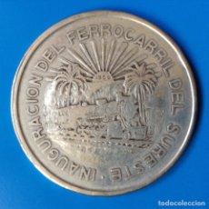 Monedas antiguas de América: MÉXICO 5 PESOS PLATA 1950 INAGURACION DEL FERROCARRIL DEL SURESTE ESCASA. Lote 96956234