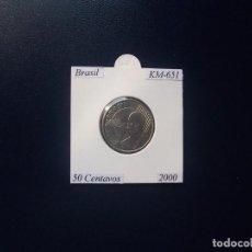 Monnaies anciennes d'Amérique: BRASIL 2000, 50 CENTAVOS, KM-651, SC-UNC. Lote 98425571