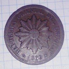 Monedas antiguas de América: URUGUAY. 2 CENTÉSIMOS 1869.. Lote 102830915