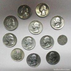 Monedas antiguas de América: CONJUNTO DE 12 MONEDAS DE PLATA ANTIGUAS DE DIVERSAS CALIDADES, LA MAYORÍA AMERICANAS. LOTE 0725. Lote 103405819