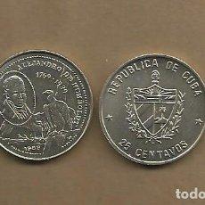 Monedas antiguas de América: CUBA: MONEDA DE 25 CENTAVOS 1989. ALEXANDER VON HUMBOLT. Lote 180276240