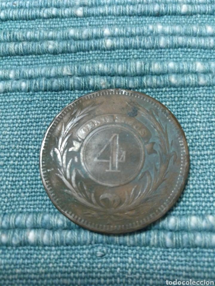 Monedas antiguas de América: Raros 4 centesimos 1869 Uruguay - Foto 2 - 104799894