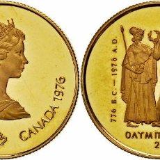 Monedas antiguas de América: CANADA 1976 - 100 $ DOLLARS GOLD (ORO) - MONTREAL OLYMPICS EN ORIGINAL BOX & CERTFICADO. Lote 105110455