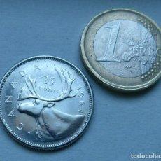 Monedas antiguas de América: MONEDA DE PLATA DE 25 CENTAVOS DE CANADA AÑO 1964 . Lote 107195979