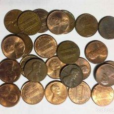 Monedas antiguas de América: 25 MONEDAS DE 1 CENT DOLLAR USA , LINCOLN VARIOS AÑOS. Lote 107618587