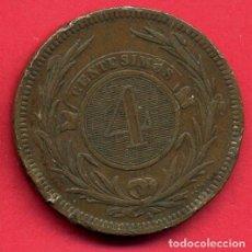 Monedas antiguas de América: MONEDA REPUBLICA DE URUGUAY , 4 CENTESIMOS , 1869 , ORIGINAL , B5. Lote 107677443