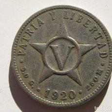 Monedas antiguas de América: CUBA , 5 CENTAVOS DE 1920. Lote 107777499
