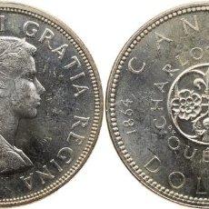 Monedas antiguas de América: CANADA DOLAR (DOLLAR) PLATA 1964 ELIZABETH II CONMEMORATIVA CHARLOTTETOWN QUEBEC. Lote 107968867