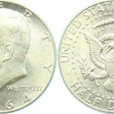Monedas antiguas de América: E.E.U.U. (USA) 1/2 DOLAR (DOLLAR) PLATA 1964 KENNEDY S/C-. Lote 109182787