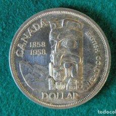Monedas antiguas de América: MONEDA 1 DÓLAR CANADA - 1958 - ELIZABETH II - PLATA 800 - EBC. Lote 109642143