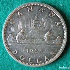 Monedas antiguas de América: MONEDA 1 DÓLAR CANADA - 1965 - ELIZABETH II - PLATA 800 - EBC-. Lote 109642599