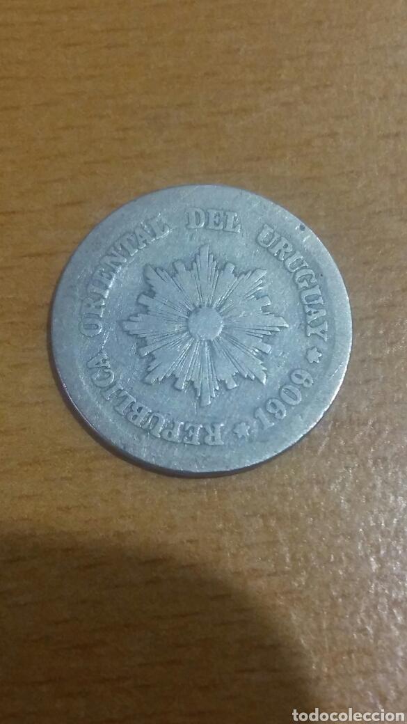 MONEDA PLATA URUGUAY 2 CENTÉSIMO 1909 (Numismática - Extranjeras - América)