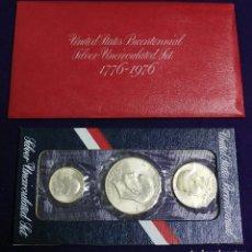 Monedas antiguas de América: JUEGO 3 MONEDAS DE PLATA. USA. DOLAR. BICENTENARIO.BICENTENNIAL SET. 1776-1976.SIN CIRCULAR. SILVER. Lote 111506187