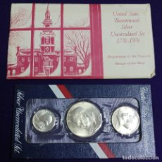 Monedas antiguas de América: JUEGO 3 MONEDAS DE PLATA. USA. DOLAR. BICENTENARIO.BICENTENNIAL SET. 1776-1976.SIN CIRCULAR. SILVER. Lote 193819737