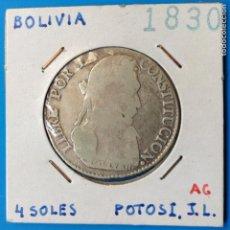 Monedas antiguas de América: BOLIVIA 4 SOLES PLATA 1830 POTOSI JL. Lote 111508863
