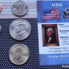 Monedas antiguas de América: MUY BONITO Y CURIOSO BLISTER DE 6 MONEDAS DE ESTADOS UNIDOS DE GEORGE WASHINGTON CON GARANTIA. Lote 111528887
