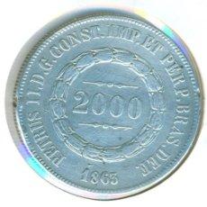 Monedas antiguas de América: BRASIL 2000 REIS 1863 ( BC+ ) - PEDRO II - PLATA. Lote 112062739