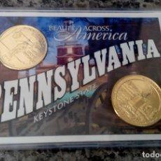 Monedas antiguas de América: INTERESANTE BLISTER CON DOS MONEDAS QUARTER DOLLAR PENNSYLVANIA Y GETTYSBURG EDICION MUY LIMITADA. Lote 112116787