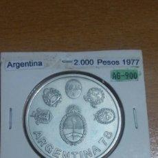 Monedas antiguas de América: ARGENTINA PLATA 2000 PESOS 1977 SC KM79. Lote 113556536