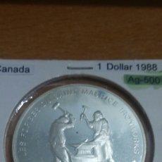 Monedas antiguas de América: CANADA PLATA 1 DÓLAR 1988 SC KM161. Lote 113567060