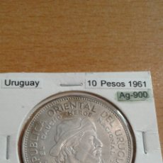 Monedas antiguas de América: URUGUAY PLATA 10 PESOS 1961 SC KM43. Lote 113581059