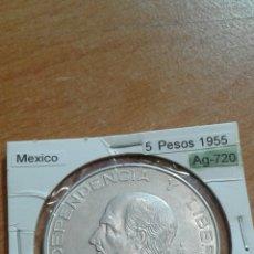 Monedas antiguas de América: MÉXICO PLATA 5 PESOS 1955 MBC KM469. Lote 113602518