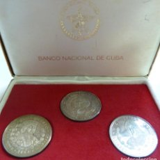 Monedas antiguas de América: ESTUCHE MONEDAS PLATA. BANCO NACIONAL DE CUBA. 10 PESOS. V CENTENARIO. ISABEL. FERNANDO. COLÓN. 1990. Lote 114874491