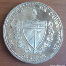 Monedas antiguas de América: 50 PESOS PLATA. SERIE FLORA DEL CARIBE. LOCHNERA ROSEA. CUBA. 1997.. Lote 116437727