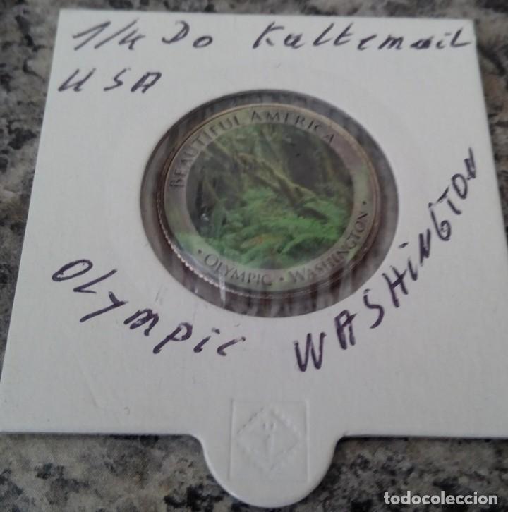 Monedas antiguas de América: CURIOSA MONEDA 1/4 DOLAR DE ESTADOS UNIDOS CON IMAGEN DEL PARQUE NACIONAL OLYMPIC DE WASHINGTON - Foto 3 - 116588699