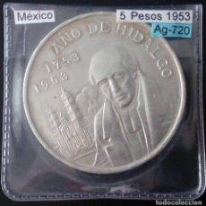 Monete antiche di America: CINCO PESOS DE PLATA MEXICANOS BICENTENARIO DE HIDALGO AÑO 1953. Lote 117459039