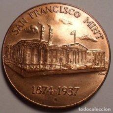 Monedas antiguas de América: CURIOSA MONEDA DE COBRE PURO DE SAN FRANCISCO 1874-1937 TREASURY DEPARTMENT UNITED STATES OF AMERICA. Lote 117512563