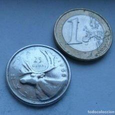 Monedas antiguas de América: MONEDA DE PLATA DE 25 CENTAVOS DE CANADA AÑO 1958. Lote 117862771