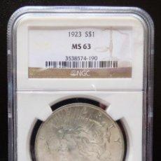 Monedas antiguas de América: USA 1 DOLAR TIPO PAZ 1923 NGC MS63 S/C. Lote 119437763