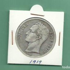 Monedas antiguas de América: PLATA-VENEZUELA 5 BOLÍVARES 1919 25 GRAMOS. LEY 0,900 . Lote 121537691