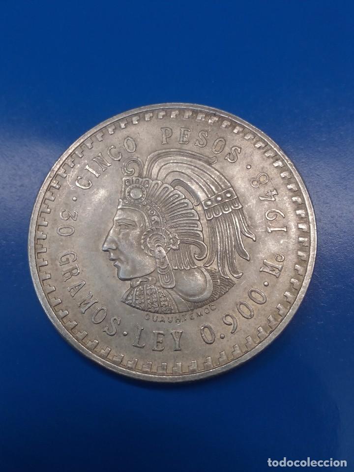 MONEDA DE 5 PESOS 1948 DE MÉXICO (Numismática - Extranjeras - América)