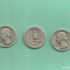 Monedas antiguas de América: PLATA-USA. 3 MONEDAS DE QUARTER 1934,1935 Y 1936. MONEDAS DE 6,25 GR.LEY 0,900. Lote 126491567