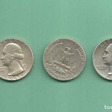 Monedas antiguas de América: PLATA-USA. 3 MONEDAS DE QUARTER 1941,1942 Y 1943. MONEDAS DE 6,25 GR.LEY 0,900. Lote 126491927