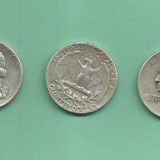 Monedas antiguas de América: PLATA-USA. 3 MONEDAS DE QUARTER 1944,1945 Y 1946. MONEDAS DE 6,25 GR.LEY 0,900. Lote 126492311