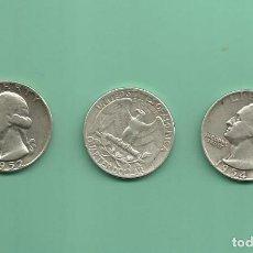 Monedas antiguas de América: PLATA-USA. 3 MONEDAS DE QUARTER 1952,1953-D Y 1954. MONEDAS DE 6,25 GR.LEY 0,900. Lote 126492787