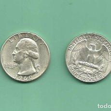 Monedas antiguas de América: PLATA-USA. 2 MONEDAS DE QUARTER 1960,1960-D . MONEDAS DE 6,25 GR.LEY 0,900. Lote 126494747