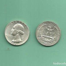 Monedas antiguas de América: PLATA-USA. 2 MONEDAS DE QUARTER 1961,1961-D . MONEDAS DE 6,25 GR.LEY 0,900. Lote 126494951