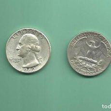Monedas antiguas de América: PLATA-USA. 2 MONEDAS DE QUARTER 1962,1962-D . MONEDAS DE 6,25 GR.LEY 0,900. Lote 126495215