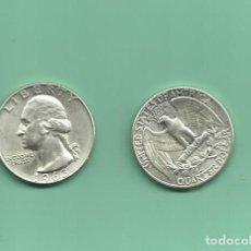 Monedas antiguas de América: PLATA-USA. 2 MONEDAS DE QUARTER 1963,1963-D . MONEDAS DE 6,25 GR.LEY 0,900. Lote 126495479
