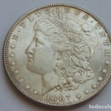 Monedas antiguas de América: MONEDA DE PLATA DE 1 DOLAR MORGAN DE 1887 , ESTADOS UNIDOS CECADE FILADELFIA, PESA 26,7 GRS, EBC. Lote 127884299