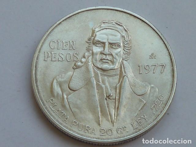 MONEDA DE PLATA DE 100 PESOS DE MEXICO DE 1977, PESA 27,8 GRAMOS (Numismática - Extranjeras - América)