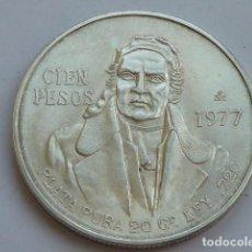 Monedas antiguas de América: MONEDA DE PLATA DE 100 PESOS DE MEXICO DE 1977, PESA 27,8 GRAMOS. Lote 127884699