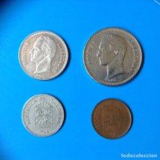 Monedas antiguas de América: VENEZUELA LOTE 4 MONEDAS 5 CENTAVOS (2), 1 Y 2 BOLIVARES. Lote 127945331