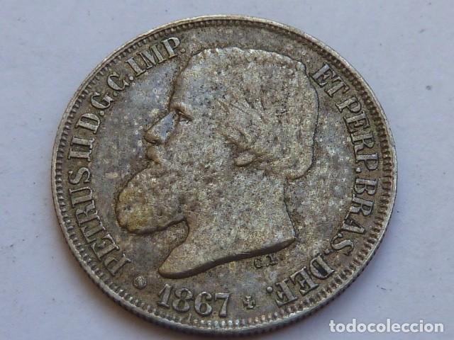 MONEDA DE PLATA DE 200 REIS DE BRASIL DE 1867 DE PETRUS II (Numismática - Extranjeras - América)
