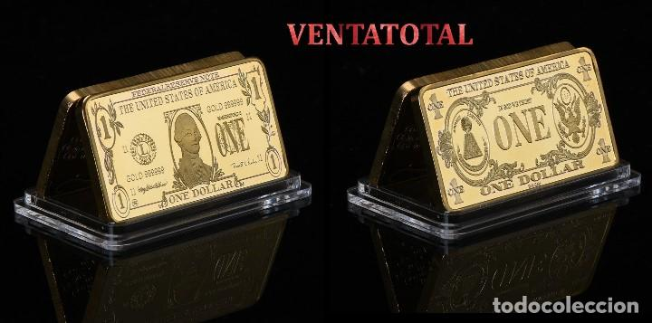 LINGOTE 1 DOLAR ORO DE 24 KILAT 40 GRAMOS( WASHINGTON - PRESIDENTE DE 1789 A 1797 ESTADOS UNI)N1 (Numismática - Extranjeras - América)